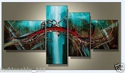 4PC MODERN ABSTRACT HUGE WALL ART OIL PAINTING ON CANVAS