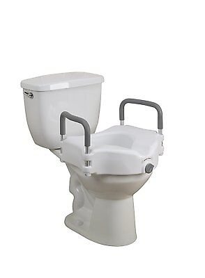 Elevated Raised Toilet Seat with Removable Padded Arms  by Healthline