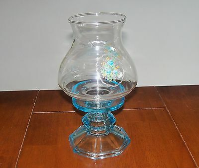 Vintage Hand Crafted LE Smith Depression Glass Candle Holder Blue Hurricane