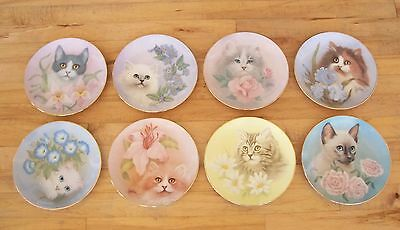 Plate Set of 8 PETALS AND PURRS Plates Cat Kitten Kitty Siamese Floral Flowers