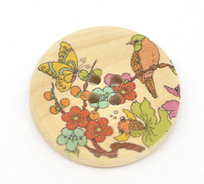 20 Nature Pattern Wood Sewing Buttons Scrapbook 30mm