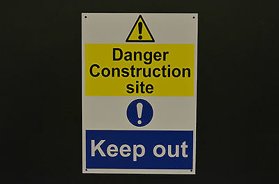 Danger Construction Site Keep Out A4 Sign Or Sticker Warning Building Works