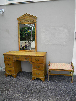 VANITY DESK WITH MIRROR AND BENCH BY WIDDICOMB #1433