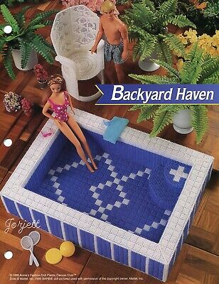 Backyard Haven Hot Tub ~ fits Barbie dolls, plastic canvas pattern leaflet