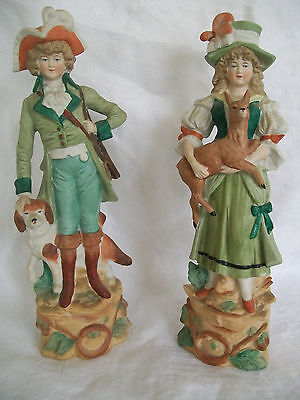"""RARE Pair Leube Bisque Porcelain Victorian Hunting Figurines Dog Deer-- 9"""" tall"""