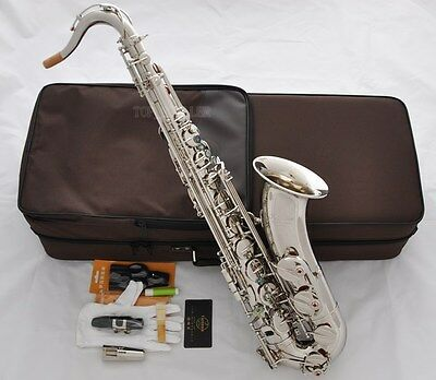 Professional TaiShan Silver Nickel Tenor Saxophone Bb Sax Abalone Shell High F#