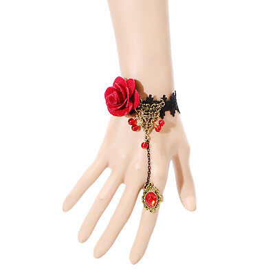 Hot Fashion Hot Jewelry Red Flower Black Lace Copper Chain Bangle Bracelet Set