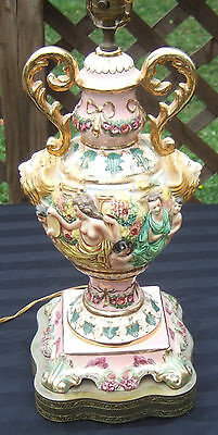 Vintage Ornate Italy Italian Porcelain Pottery Lamp