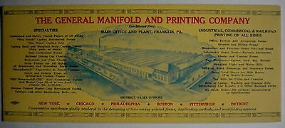 General Manifold and Printing Co. Ink Blotter - Frankin, PA