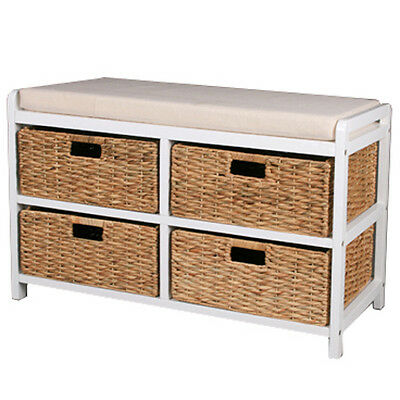 CANTERBURY - Double Shoe Storage Bench with Baskets - White / Brown KYS35994
