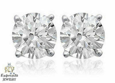 CERTIFIED 2.00ct  2ct G/I1 ROUND GENUINE DIAMONDS IN 14K GOLD STUDS EARRINGS