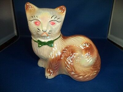 Large Iridescent Porcelain Sitting Cat Figurine with Bow White & Brown FREE SHIP