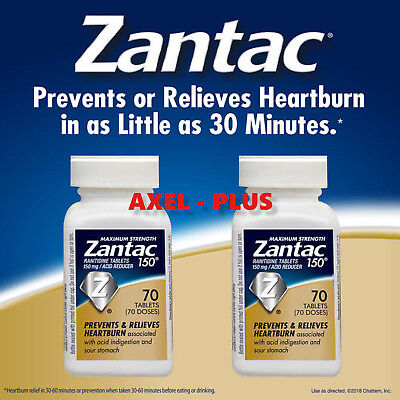 120 NEW!  MAXIMUM STRENGTH ZANTAC 150mg ,2 x 60 Tablets  EXP 03/2020 OR LATER