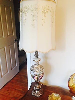 Pair of Gorgeously Stunning Antique Vintage Capodimonte Porcelain Lamps w/Shades