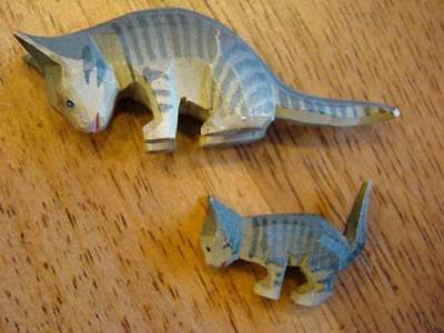 Vintage HAND CARVED Erzgebirge Painted Wood Miniature CATS, Germany
