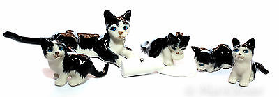 Figurine Animal Ceramic Statue Black Cat Family With Milk Bottle Kitten - CCK116