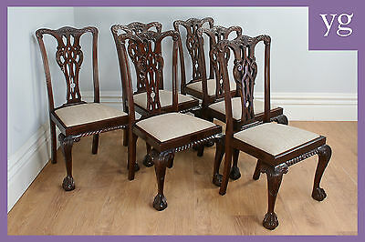 Antique Set 6 Six Georgian Chippendale Style Mahogany Dining Side Chairs c.1900