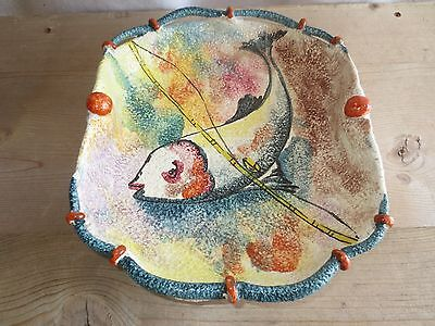 Vintage Italian Hand Painted Pottery Cardel Bowl of a Fish on a line~ Gorgeous!