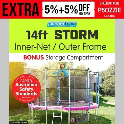 14ft 12-POST PINK TRAMPOLINE FREE ENCLOSURE SAFETY NET+PAD+MAT+SHOE TIDY+LADDER