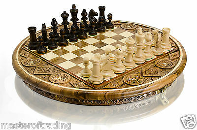 "Amazing ""ruby"" Decorative High-Quality Hand Carved Wooden Chess Set !!!"