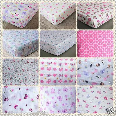 Brand New Baby Crib Cot Bed Fitted Sheet 100% Cotton Girls 12 designs