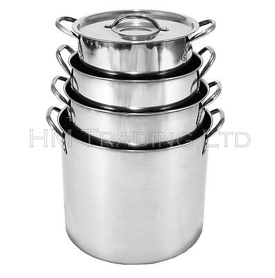 Steel Deep Stock Soup Pot Saucepan Cooking Stew Catering Casserole Pan With Lid