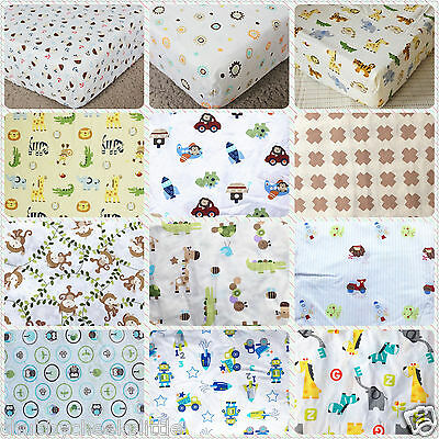 Boys Brand New Baby Crib Cot Bed Fitted Sheet 100% Cotton 12 designs