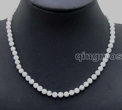 "SALE Genuine 6mm Round White Natural High quality MoonStone 18"" necklace-ne5820"