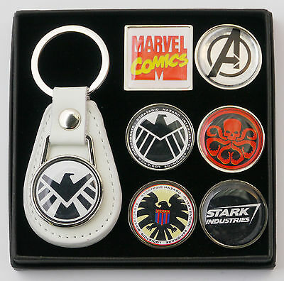 Marvel AGENTS OF SHIELD - Leather Keyring & Tie Pin Badge Set (#X043)