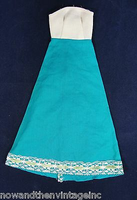 Vintage 60s BARBIE Doll Dress Hand Made White Teal Lace Strapless Mod Wrap Gown