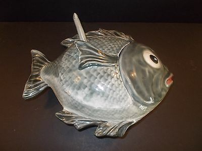 Vintage Majolica Fish Pottery Tureen w/ Whale Ladle Hand Painted Portugal  640