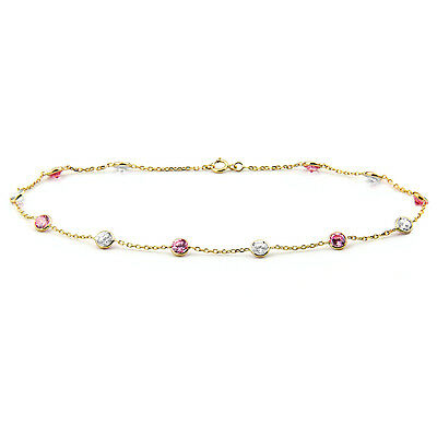 """14K Yellow Gold Ankle Bracelet With Pink & Clear Cubic Zirconia 9 1/2"""""""