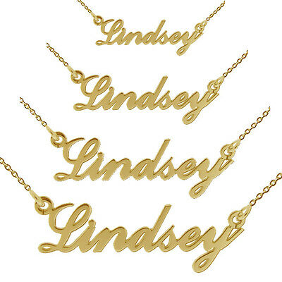 9Ct Solid Gold Carrie Style Any Name Necklace Mini Small Medium Large & Chain
