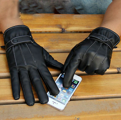 Mens Luxurious PU Leather Winter Touch Screen Driving Warm Gloves Black