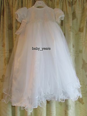 Girls Christening Baptism Dress Gown With Bonnet White Occasion Baby 6-12 Months