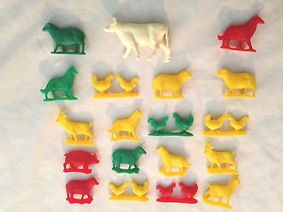 Multicolor Resin Farm Animal Toy Figures - Lot of 19 Pieces