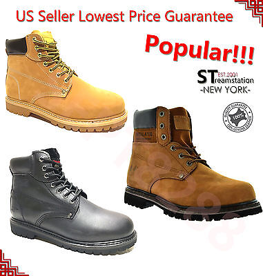 Kingshow Men's Water Resistant Winter Snow Work Boots Leather 8036 + FREE SOCKS