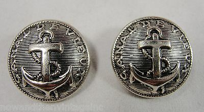 "Vtg Silver Button 7/8"" Military US Navy Canal De Vieux Guard Anchor & Rope Lot 2"