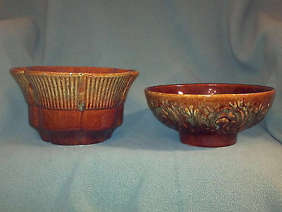 Pair of Haeger U.S.A. Planters - #102 & 156 - Brown/Green Floral