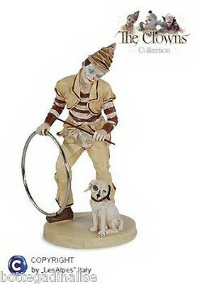COLLECTION LES ALPES  CLOWN CON CAGNOLINO h.24,50cm - 001 12007 Pagliaccio