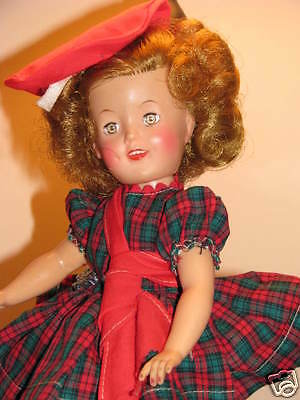 ORIGINAL 1950'S IDEAL SHIRLEY TEMPLE 12 IN. SWEETHEART IN SCOTTISH PLAID OUTFIT