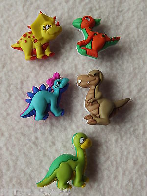Dress It Up Buttons ~ Dino-Mite ~ 5 Colourful Baby Dinosaurs