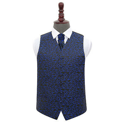 DQT Swirl Patterned Black & Blue Mens Wedding Waistcoat & Cravat Set FREE Pin