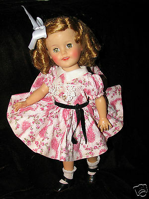SHIRLEY TEMPLE 15 1950'S ORIG, RARE PINK PRINT DRESS w. GINGERBREAD LACE