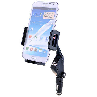 Dual USB 2-Port Car Charger Cell Phone Mount Holder for iPhone 6 6Plus 5S 5 5C 4