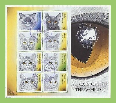 Gambia 2000 Cats sheetlet used, sg 3625-3632
