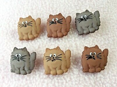 Dress It Up Buttons ~ Fat Cats ~ 6 Cross-Eyed Fat Cats ~ 3 Different Colours