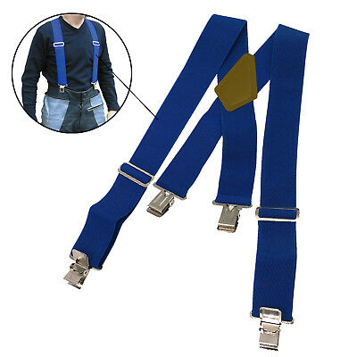 Pair Motorcycle Motorbike Ride Heavy Duty Elasticated Braces For Trousers Blue