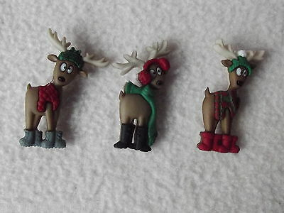 Dress It Up Buttons ~ Where's The Sleigh? ~  3 Dressed Up Christmas Reindeer