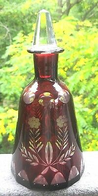 Vintage Ruby Cut To Clear Bohemian Czech Cut Glass Carafe Decanter